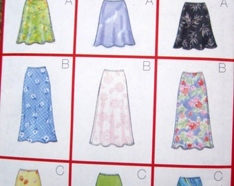 Butterick 5431 Womens 90s Bias, A line, Above knee, Ankle Skirt Sewing Pattern Hip 32 to 34