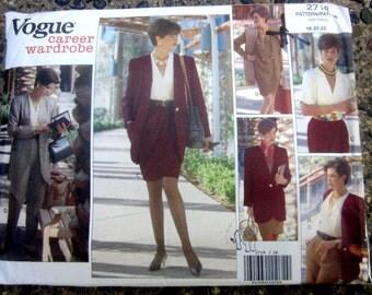 Vogue 2718 Plus Size Women's 90s Business Wardrobe Jacket Dress Blouse Skirt Sewing Pattern Bust 40 to 44