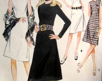 McCall's 2829 Misses 70s Dress with Sleeve Variations & Fringe Trimmed Shawl Sewing Pattern Size 12 Bust 34