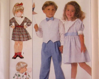 Simplicity 9532 Girl Dress and Boys Pants Vest Sewing Pattern Size 3 to 6 Breast Chest 22 to 25