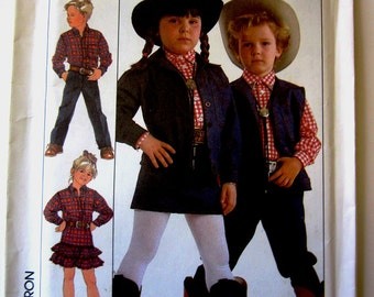 Simplicity 9888 Child's 80s Western Shirt Pants Skirt Jacket Vest Sewing Pattern Breast Chest 22 to 25