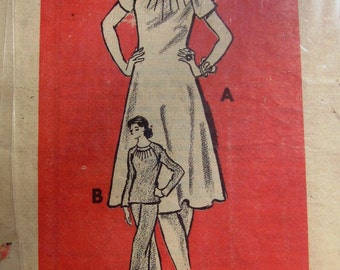 Pattern Dept Mail Order 4922 Misses' 70s A Line Dress, Straight Legged Pants, Pullover Top Sewing Pattern Size 14 1/2 Bust 37