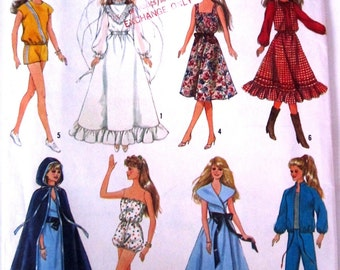 Simplicity 8333 Barbie Doll 80s Vintage Fashion Clothing Sewing Pattern 11 half inch