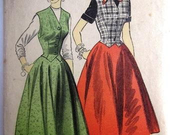 Advance 6548 Womens 40s Weskit Skirt and Dress Sewing Pattern Bust 32