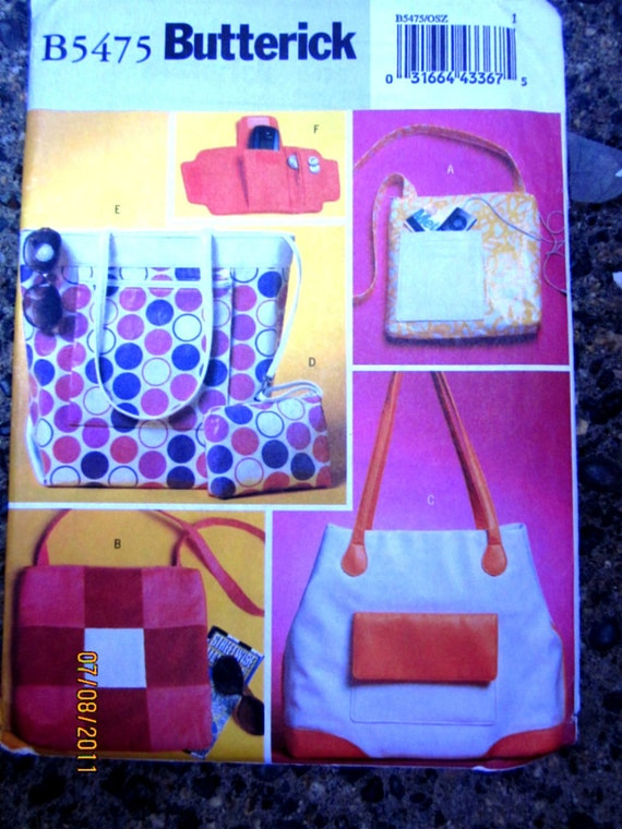 Butterick 5475 Tote Purse Hand Bag Wrist Wallet  Sewing Pattern