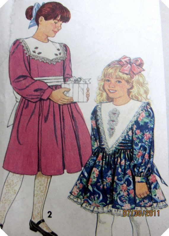 Simplicity 7588 Girls Gunne Sax Dress Sewing Pattern Breast 28 30 Size 7 to 8