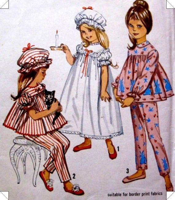 Simplicity 5080 Girls Nightgown Cap Pattern 1960s