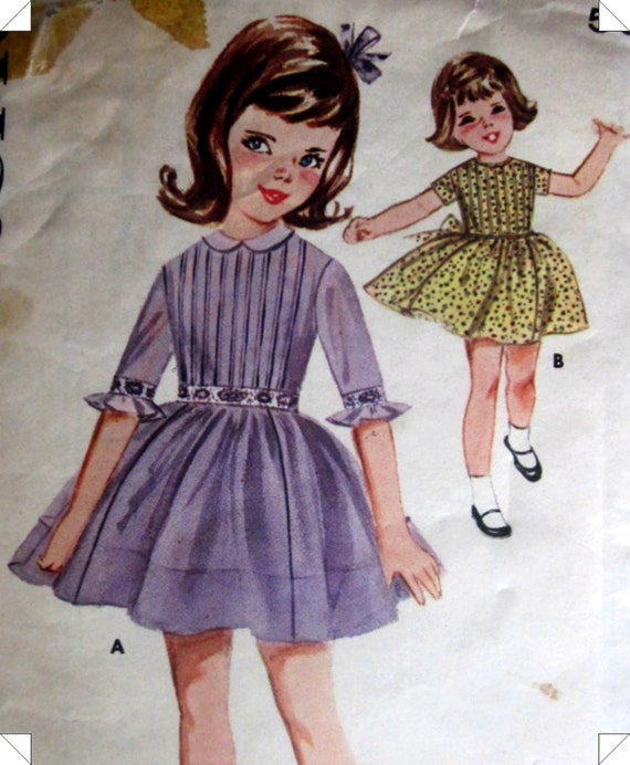 Butterick 2448 Girls Pleated Dress Pattern 1950s Vintage