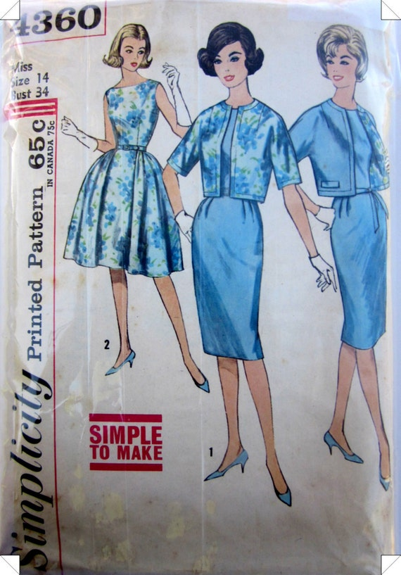 Simplicity 4360 Womens Dress Jacket 1950s Vintage Pattern