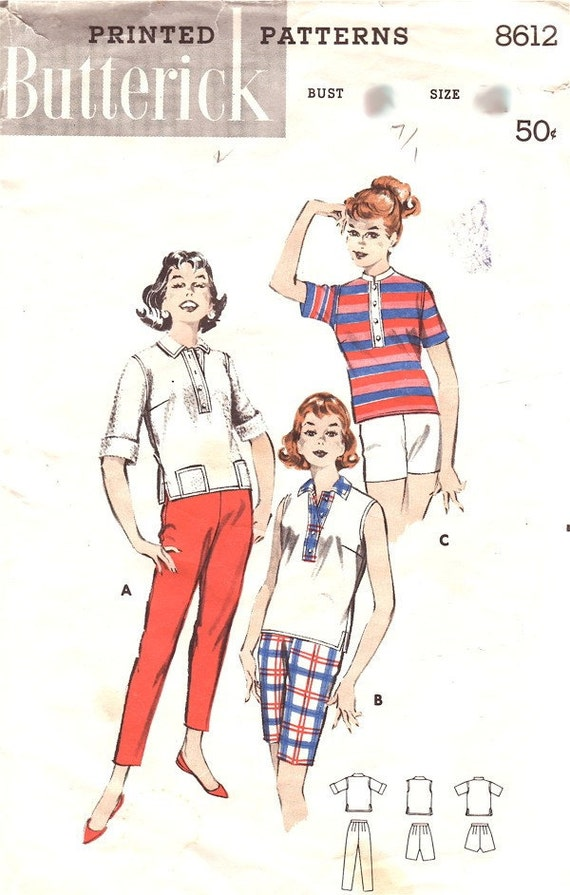 Butterick 8612 Women Cigarette Pants Top 1950s Pattern