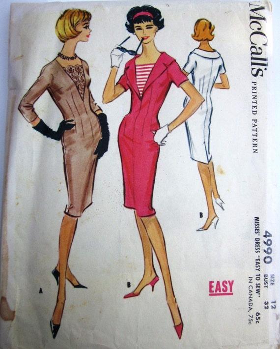 Vintage 1950s McCalls 4990 Women's Sheath Dress Sewing Pattern