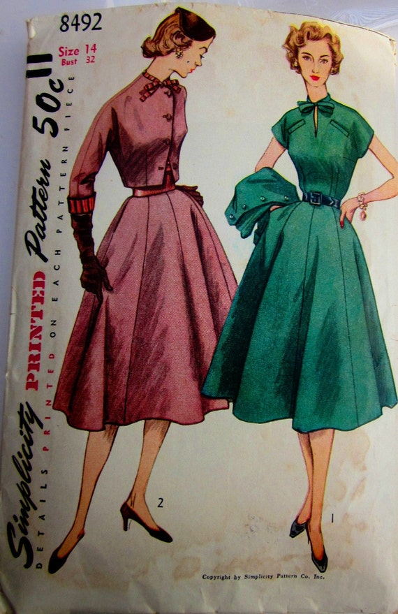Simplicity 8492 Womens Dress Jacket Sewing Pattern 1950s Vintage