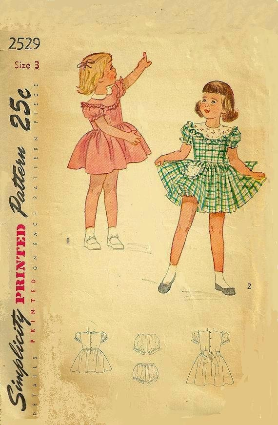 Simplicity 2529 Girl Dress Vintage Sewing Pattern 1940s