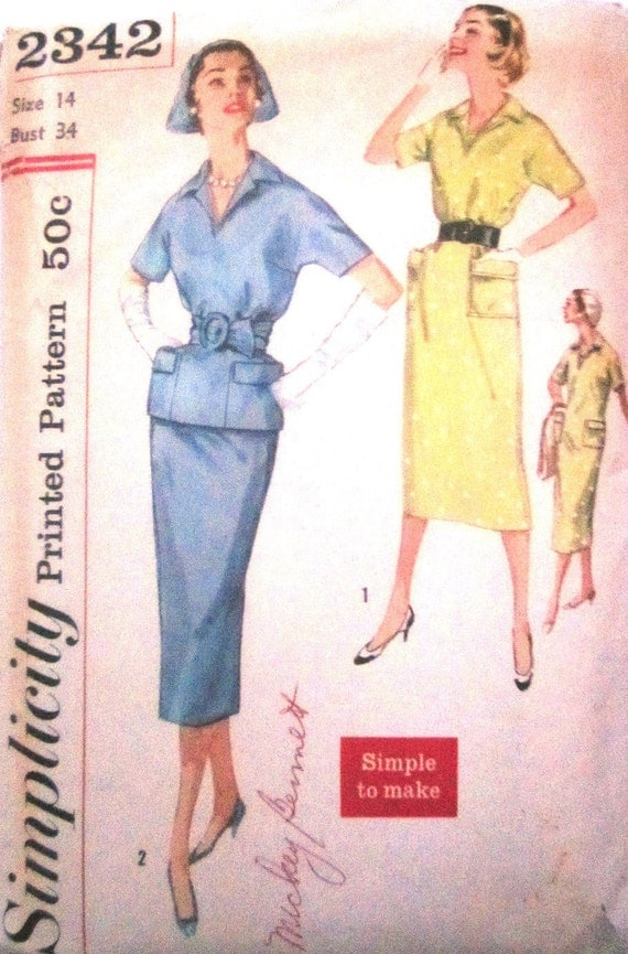 Simplicity 2342  Womens 50s Dress Two Piece Suit with Skirt Sewing Pattern Bust 34
