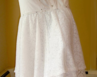 "1985 Madonna Skirt Like A Virgin Lace & Rhinestone Cotton Twill White Waist 27"" (69 cm)"