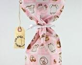 Wine bag for new baby girl, wine gift bag, fabric wine bag, bottle wrap, fabric tote, bottle bag