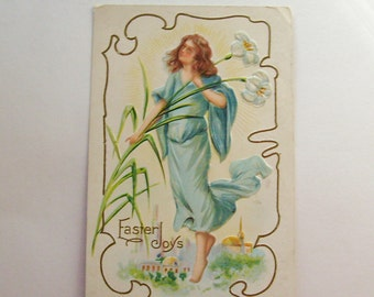 Antique Easter postcard angel embossed