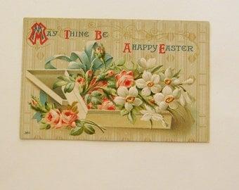 Antique Easter postcard box full of flowers roses and narcissus ephemera