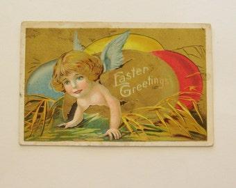 Antique Easter postcard cherubs coming out of egg ephemera