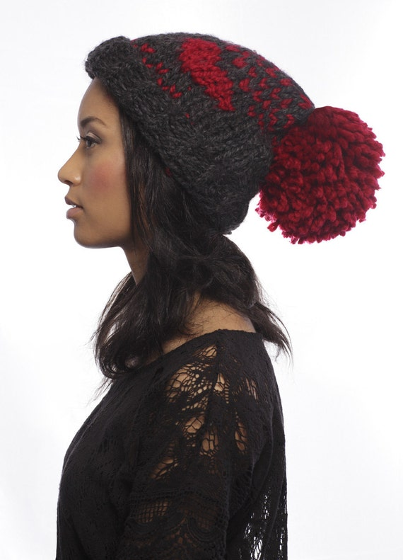 FREE SHIPPING - LOVE knit hat with Extra Large Pom Pom