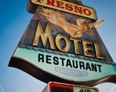Fresno Motel Vintage Neon Sign - Famous Diving Girl - Retro Home Decor - Bold Typography - Graphic Wall Art - Fine Art Photography
