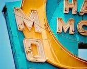 Los Angeles Half Moon Motel Neon Sign - Culver City - Vintage Typography - Retro Office Decor - Hostess Gift - Fine Art Photography