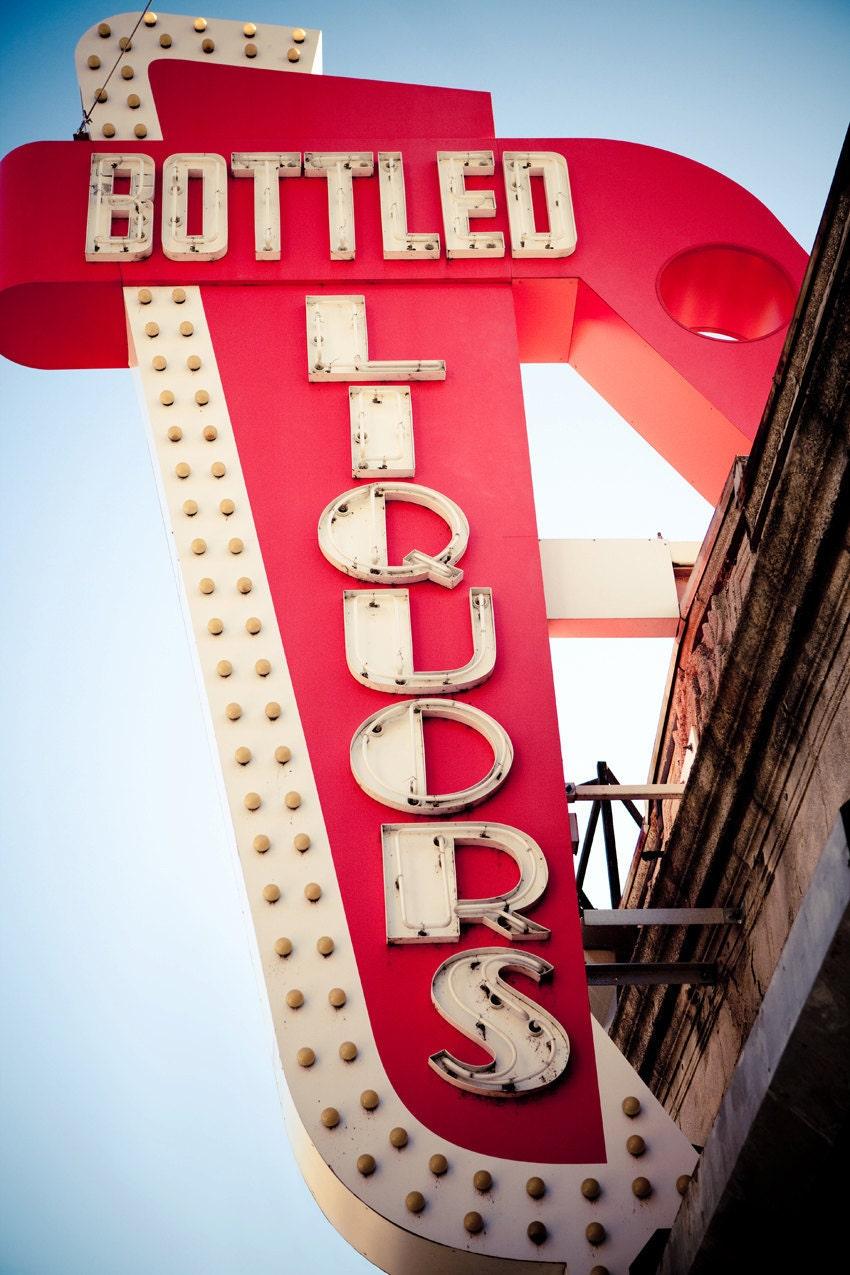 vintage bottled liquors neon sign retro home bar decor. Black Bedroom Furniture Sets. Home Design Ideas