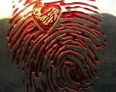 3D Bloody Fingerprint Heart Clear Glass Plate  Blood Red