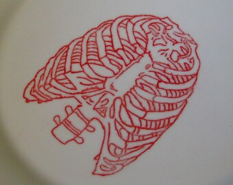 The Rib Plate-Ceramic Engraved Plate in Blood Red