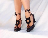 Black Crochet  Barefoot Sandals, Nude shoes, Foot jewelry, Gothic, Victorian, Lace, Sexy, Yoga, Anklet, Steampunk, Beach Pool