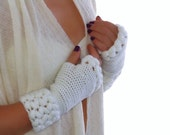 Crochet White  fingerless gloves, Mittens, Arm Warmers wool acrilyc blend yarn, weave braids