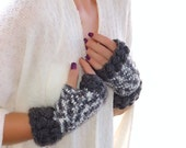 Crochet Gray  fingerless gloves Mittens Arm Warmers, Gift Ideas For Her, Winter Accessories, Valentine's day gift