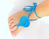 2 pairs Baby Heart Barefoot sandals, Baby shoes, Hot Pink, Light Turquoise Barefoot Sandals.