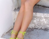 Lime Crochet  barefoot sandals, green - yellow  nude shoes, wedding, barefoot sandles, sexy,  yoga, anklet , steampunk sandals, beach pool
