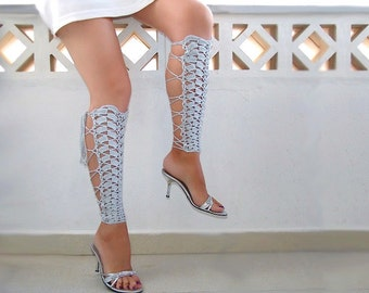Leg warmers, crochet light gray sexy laced up, victorian lace, fishnet knee socks, steampunk