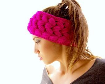 Crochet headband, braided versatile  fuchsia ear warmer, 2 in 1, neckwarmer, crocheted ski headband