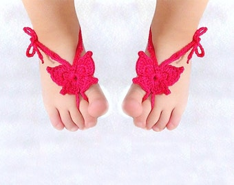 Baby Butterfly Barefoot sandals, Orchid Baby shoes, Crochet Foot accessory, Baby Photo prop, Beach  Anklet, barefoot sandles, Pink, Fuchsia