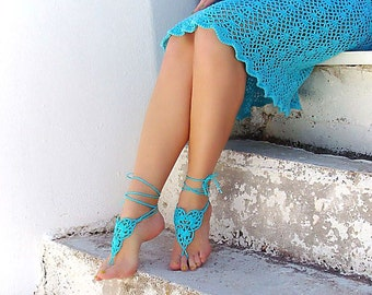Barefoot sandals, Barefoot, Barefoot sandal, Turquoise knit sandal, nude shoes, Fashion Accessory, sexy, yoga, anklet, Beach Wedding Party.