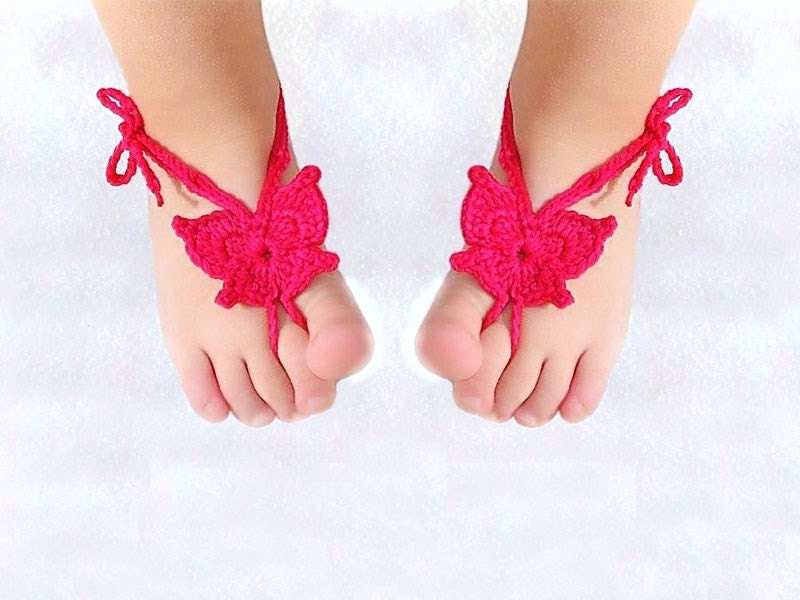 Baby Butterfly Barefoot sandals Orchid Baby shoes Crochet