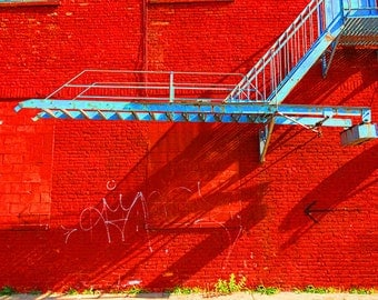 Bright Red and Blue Fire Escape, Fine Art Photography, City Art,  Architecture
