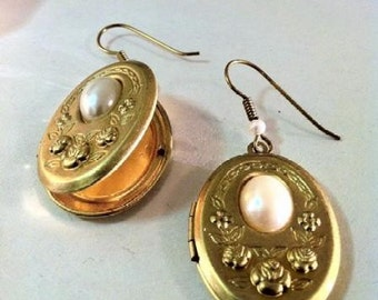 Big Locket Earrings, Faux Pearl Floral Ovals