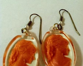 Cameo Earrings Lady Of Autumn Orange Intaglios