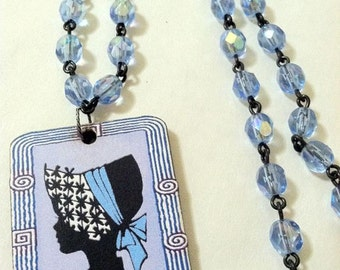 Little Bow Peep Cameo Czech Glass Rosary Necklace