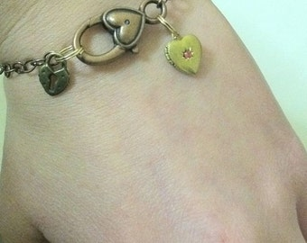 Heart Locket Charm Bracelet Heart Padlock