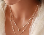 DOUBLE  STRAND  PEARL Necklace on Sterling Silver Chain with Crystal Accents, Bridal Necklace, Wedding Necklace, Special Occasion