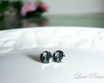 Swarovski Crystal Birth Stone Stud Earrings Post - Color Black Diamond - Hypoallergenic or Metal post - Choose your post