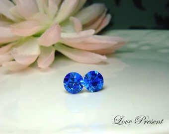 Swarovski Crystal Birth Stone Stud Earrings Post - Color Sapphire for September - Hypoallergenic or Metal post - Choose your post
