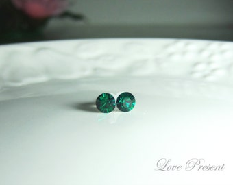 Swarovski Crystal Petite Stud Earrings Post - Minimal Simple Jewelry - Color Emerald - Hypoallergenic or Metal post - Choose your post