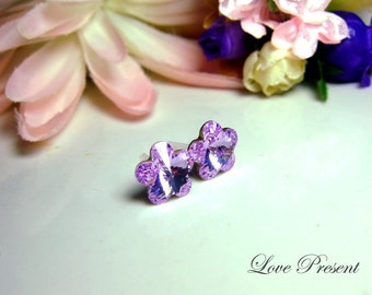 Supreme Swarovski Crystal Stud Daisy Tansy Earrings - Color Violet - Hypoallergenic or Metal post - Choose your post