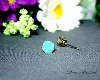 Swarovski Crystal 0.7cm Round Rhinestone Pierced Post Earrings - Modern Minimalist Jewelry for Everyday - Color Pacific Green Opal